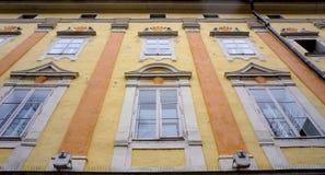 Historische pastelkleurvoorgevel Royalty-vrije Stock Afbeelding