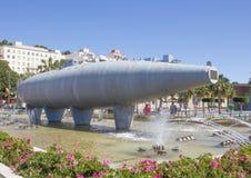 Historische Perral-onderzeeër op Cartegena-overzeese voorzijde Royalty-vrije Stock Foto's