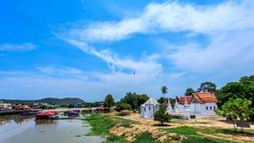 Historische plaats, Wat Ubosatharam De tempel huisvest vele artefacten zoals muurmuurschilderingen die de stijl van vroege Rattan stock foto