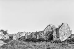 Historische Ruine an Matjiesfontein-Bauernhof im Nordkap einfarbig stockfotos