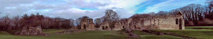 Historische Ruinen Basingwerk-Abtei im Greenfield, nahe Holywell Nord-Wales Stockbild