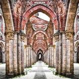 Historische Ruinen einer verlassenen Abtei Stockbilder