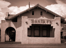 Historische Santa Fe New Mexico Stock Foto's