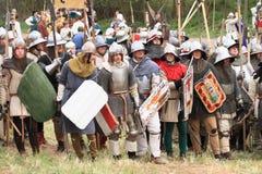 Historische Soldaten vor dem Kampf Lizenzfreie Stockfotos