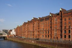 Historische speicherstadt in Hamburg Royalty-vrije Stock Foto's