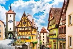 Historische stad van Rothenburg ob der Tauber, Beieren, Duitsland Stock Afbeeldingen