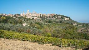 Historische stad van San Gimignano in Okerprovincie in Toscanië a Stock Afbeeldingen