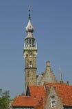 Historische stadhuistoren van Veere in Holland Royalty-vrije Stock Afbeeldingen
