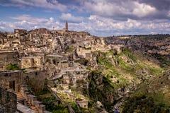 Historische Stadt von Matera in Italien mit seinem Kulturerben Lizenzfreies Stockfoto