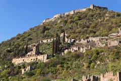 Historische Stadt von Mystras in Griechenland Lizenzfreies Stockbild