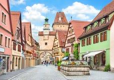 Historische Stadt von Rothenburg-ob der Tauber im Bayern, Deutschland lizenzfreie stockfotos