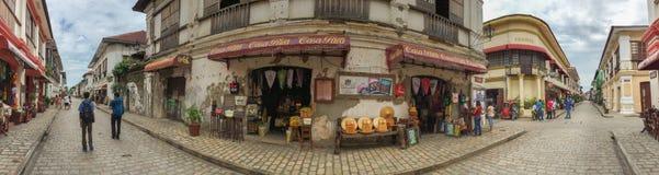 Historische Stadt von Vigan im Panorama stockfoto