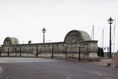 Historische steenbrug, Termunterzijl, Holland Royalty-vrije Stock Foto's