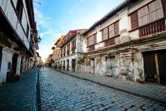 Historische Straße von Calle Crisologo, Vigan, Ilocos Sur, Philippin lizenzfreie stockbilder