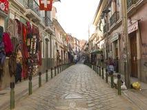 Historische Straßen in der Stadt von La Paz, Bolivien Stockfoto