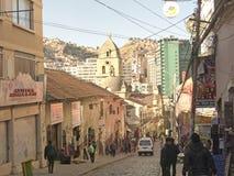 Historische Straßen in der Stadt von La Paz, Bolivien Stockfotos