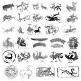 Historische Symbole mit unterschiedlicher Art der Tiere Stockfotos
