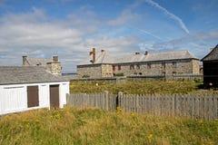 Historische Szene an der Festung von Louisbourg lizenzfreie stockfotografie
