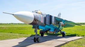 Historische tentoongestelde voorwerpen van Russische militaire vliegtuigen bij de Kubinka-luchtmachtbasis in het Gebied van Mosko royalty-vrije stock fotografie