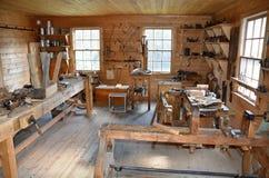 Historische Tischler-Werkstatt, Fort Edmonton, West-Kanada Lizenzfreie Stockbilder