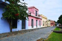 Historische traditionele huizen in Colonia, Uruguay Royalty-vrije Stock Afbeelding