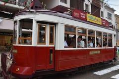 Historische Tram 28 in Lissabon, Portugal Stockbild
