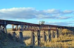 Historische verlassene Eisenbahnbrücke über Boorowa-Fluss, NSW Lizenzfreie Stockfotografie