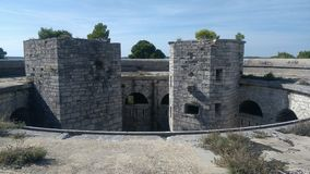Historische vesting in hart van Pula stock afbeeldingen