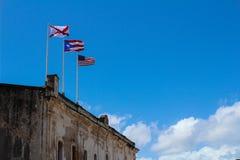 Historische Vlaggen van Spanje Puerto Rico en Verenigde Staten stock foto