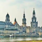 Historische Voorzijde van gebouwen in Dresden Stock Foto's