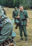 Historische wederopbouw tweede wereldoorlog Duitse militair, memb Stock Foto