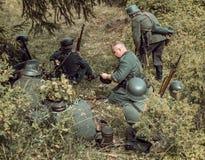 Historische wederopbouw tweede wereldoorlog Duitse militairen in a Royalty-vrije Stock Foto's