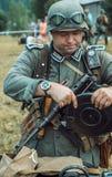 Historische wederopbouw tweede wereldoorlog Duitse militairen insp Stock Afbeeldingen