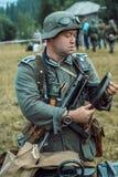 Historische wederopbouw tweede wereldoorlog Duitse militairen insp Stock Foto