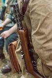 Historische wederopbouw tweede wereldoorlog Het machinegeweer beh Stock Afbeeldingen
