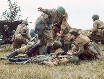 Historische wederopbouw tweede wereldoorlog Militairen op batt Royalty-vrije Stock Fotografie