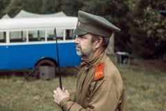 Historische wederopbouw tweede wereldoorlog Veiligheidsagent Stock Foto