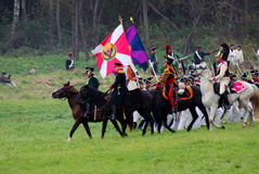 Historische Wiederinkraftsetzung Borodino-Kampfes in Russland Stockfotos