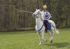 Historische Wiederinkraftsetzung von Roman Cavalry- und Infanteriesoldaten bei Northumberland, im Mai 2012 Stockbild