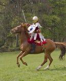 Historische Wiederinkraftsetzung von Roman Cavalry- und Infanteriesoldaten bei Northumberland, im Mai 2012 Stockfotos