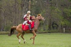 Historische Wiederinkraftsetzung von Roman Cavalry- und Infanteriesoldaten bei Northumberland, im Mai 2012 Lizenzfreie Stockfotos