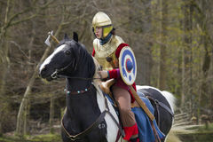 Historische Wiederinkraftsetzung von Roman Cavalry- und Infanteriesoldaten bei Northumberland, im Mai 2012 Lizenzfreies Stockbild