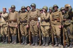 Historische Wiederinkraftsetzung von WWII in Kiew, Ukraine Lizenzfreie Stockfotos