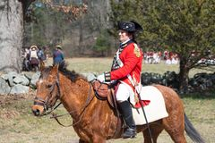 Historische Wiederinkraftsetzungs-Ereignisse in Lexington, MA, USA Lizenzfreies Stockfoto
