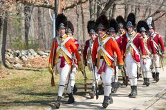 Historische Wiederinkraftsetzungs-Ereignisse in Lexington, MA, USA Lizenzfreie Stockbilder