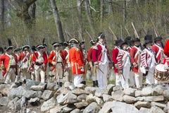Historische Wiederinkraftsetzungs-Ereignisse in Lexington, MA, USA Lizenzfreie Stockfotografie