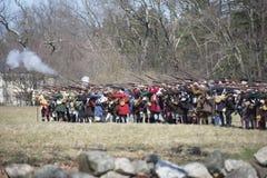 Historische Wiederinkraftsetzungs-Ereignisse in Lexington, MA, USA Lizenzfreie Stockfotos