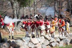 Historische Wiederinkraftsetzungs-Ereignisse in Lexington, MA, USA Stockbild