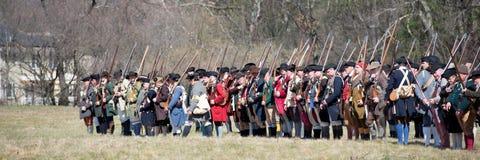Historische Wiederinkraftsetzungs-Ereignisse in Lexington, MA, USA Stockfotos