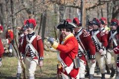Historische Wiederinkraftsetzungs-Ereignisse in Lexington, MA, USA Lizenzfreies Stockbild